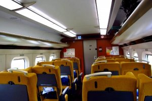 The interior of the Super Komachi, the fastest train between Akita and Tokyo
