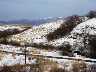 Snow covers the Aso highlands