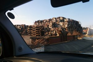 One of the previously numerous sorting dumps where scrap metal debris is recycled.