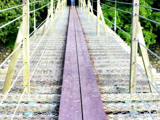 Are you brave enough to cross it? The path bounces up and down as you step on this suspension bridge