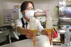 Did you say ice cream? Sold! Vanilla cones are available for just 300yen.