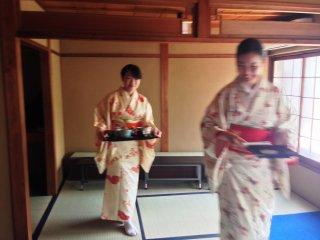 Seasonal Kimonos are part of the charm of this tea house