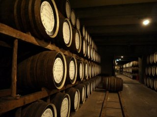 Barrels of whiskey stored for aging