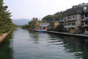 Stroll by the canal in this water town called Amanohashidate north of Kyoto