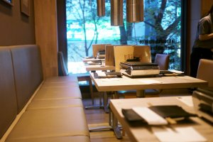The stylish minimalist tables at Ushigoro Bambina