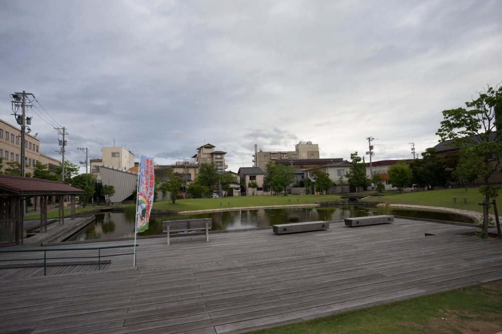 A pond in the middle of the city