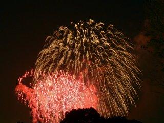 Le feu d'artifice illumine la nuit et le sourire des spectateurs.