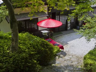 Koshoan is an old style cafe near Kuromon under Japanese maple trees