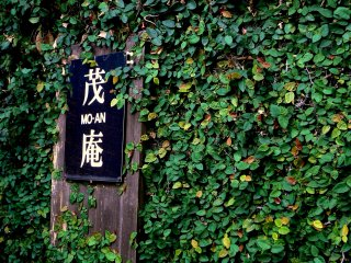 Mo-an's sign is surrounded by green leaves