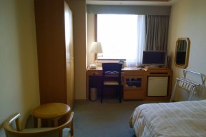 Each room comes with a LCD T.V., a mini-refrigerator, a working space, and air conditioning