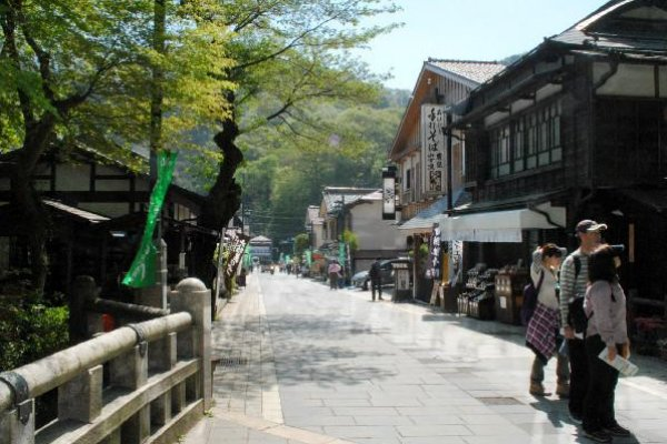 The shopping street leading to the cable car and chair lift stations.