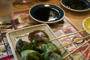 Grilled green pepperswith miso