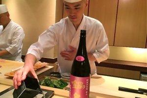 Chef Shigeyuki Tsunoda prepares the2014 Nabeshima sweet sake for us