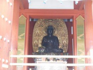 Le temple abrite plusieurs triades de Bouddhas, la triade Yakushi dans le bâtiment principal, et la triade Mytreya dans le bâtiment Daikodo