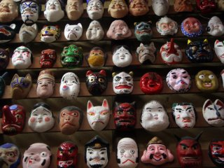 This mask museum has a collection of masks dating back many years, and includes many Japanese folk tale characters
