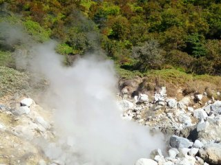 Gases here reaches 120 degrees celcius, mainly in the form of steam.