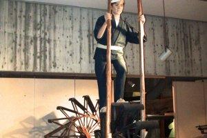 Exhibit showing working the irrigation wheel
