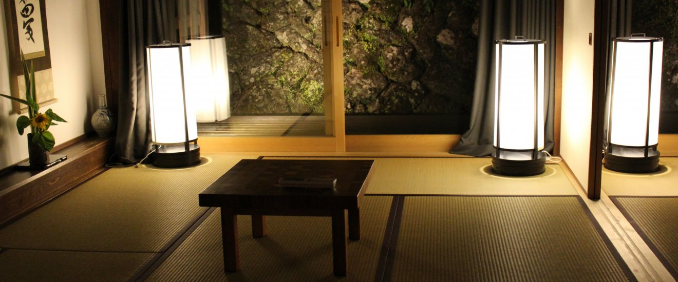 Clean beautiful Japanese sleeping and living area just before setting up for bed