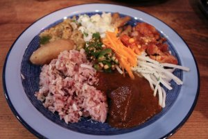 Buffet plate with curry and vegetable side dish selection.