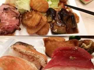 Đây là một vài món trong bữa tối mà bạn có thể thưởng thức. Bạn sẽ có nhiều sự lựa chọn bao gồm món ăn truyền thống Nhật Bản như sushi, cũng như gà chiên và khoai tây rán vàng, và rồi cam, dưa hấu hay kem cho tráng miệng