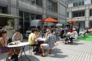 Food trucks fill the university's inner courtyard