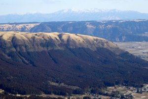 A view of the edge of the massive caldera of Mt Aso