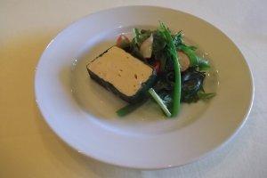 Prawn mousse terrine with salad