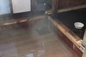 Inside a public bath-house next to Yubatake