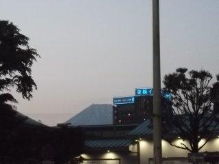 미시마 역 너머 해가 진다