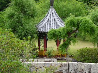 the gazebo by the pond