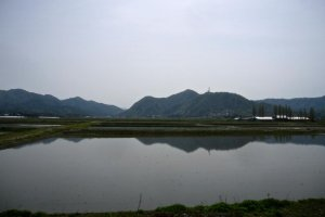 Rice fields, prepared for planting, mirror the mountains. From the Uetsu Line in Tainai City