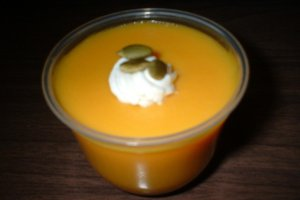 Pumpkin Pudding Topped with Roasted Pumpkin Seeds