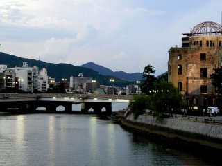 Looking along the river next to the Atomic Bomb Dome