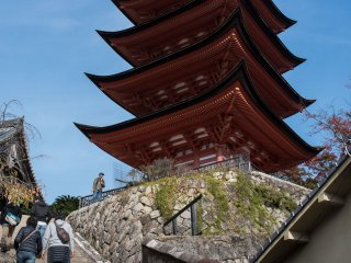 The five story pagoda sits on a small hill at Miyajima on the way to Mt. Misen