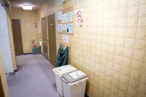The corridor outside with rubbish bins