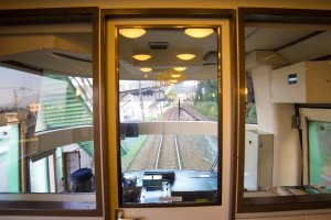 You could walk up to the front of the train and take a look at the driver's seat