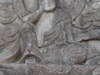 A carved Buddhist relief