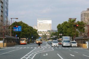 Himeji Castle, under construction, up the main road from Himeji Station