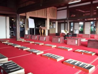 A prayer hall inside the temple