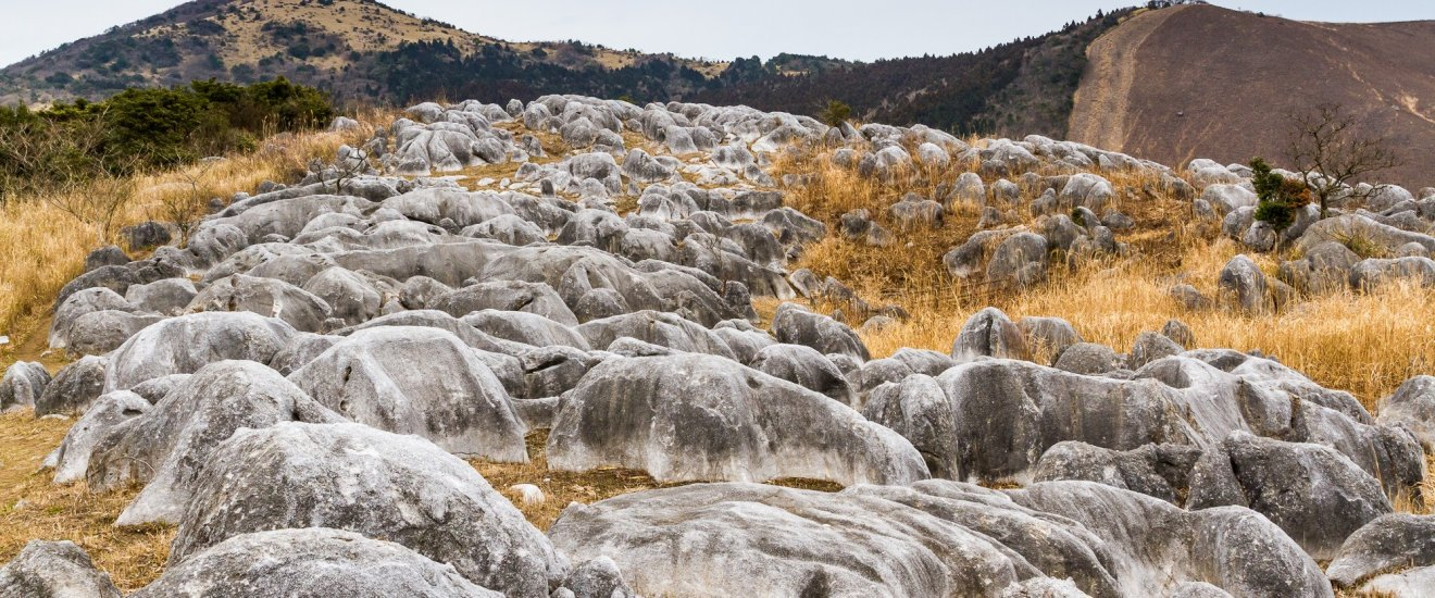 Winter view of Hiraodai Karst Plateau and its grassy mountainsides dotted with limestone formations