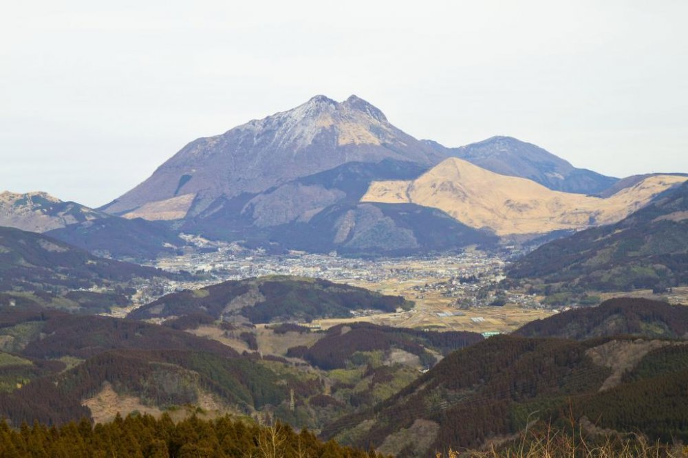 Mt. Yufu with Yufuin hot spring resort town in the foreground
