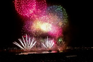Colourful fireworks at Adachi fireworks