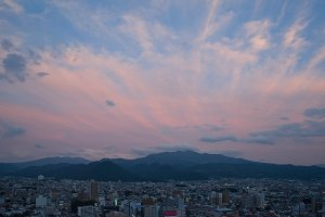 Sunset over Yamagata from the free observatory at the Washington Hotel