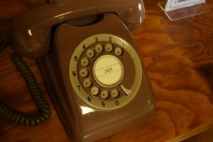 Retro rotary-dial phone in my room