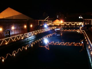 Boats light up at night