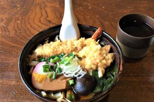 A bowl of tempura and noodles