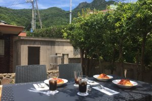 Lunch on the terrace of Guesthouse & Cafe Anzu