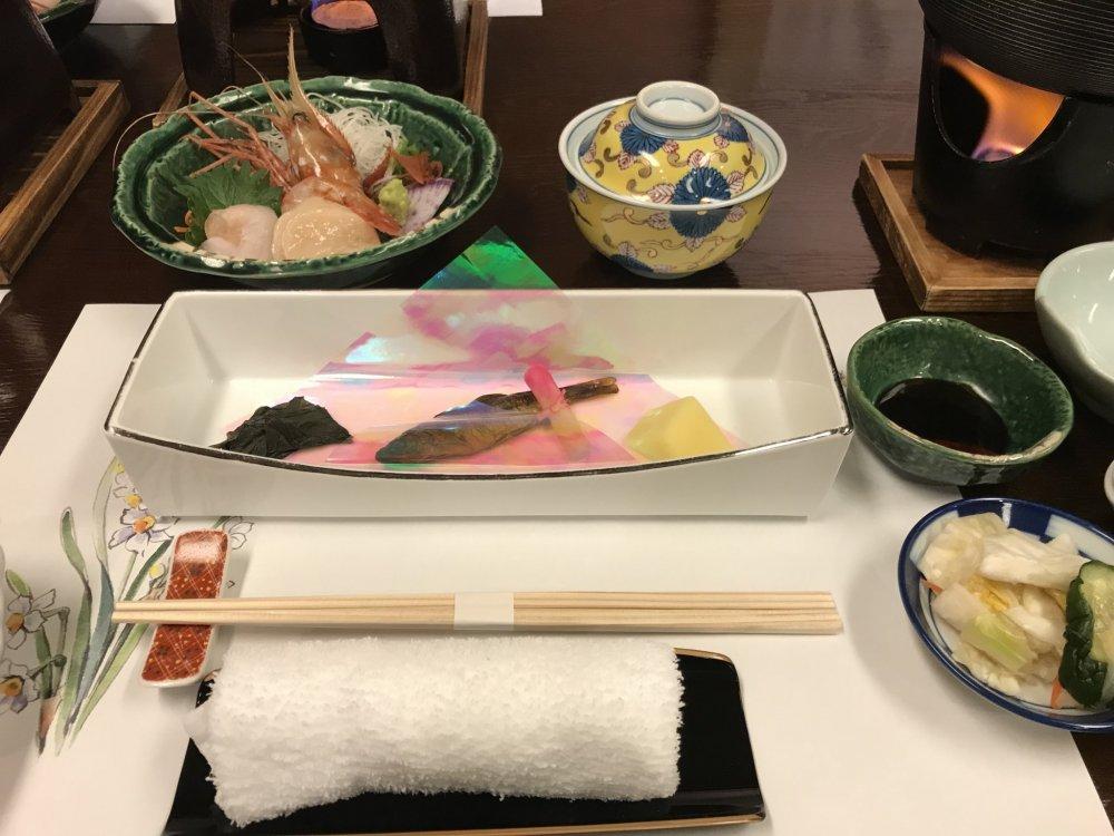 Dinner is served kaiseki style