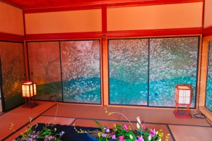 One of many floral themed rooms at Kobuntei