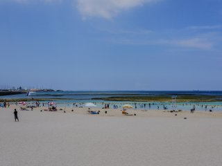 A large, clean, sandy beach is perfect for relaxing or beach volleyball